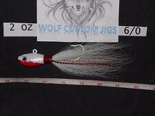 2oz Bleeding white Wolf Custom Ultra minnow Bucktail jig Striped Bass Flounder