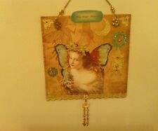 Original Mixed media Hanging Fairy collage with Swarovski Crystals,