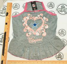 DALLAS COWBOYS NFL DOG L - PET SQUAD JERSEY TEE HEART PINK GRAY DRESS LARGE 2015