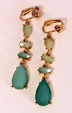 Vintage Bright Multiple Turquoise Beads Gold Tone Fancy Drop clip on Earrings