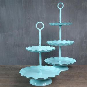 2/3 Tiers Blue Metal Cake Holder Party Wedding Cupcake Dessert Display Stand