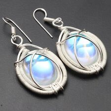 """Earrings Size 1.8"""" Jewelry T6050 Aqua Mystic Silver Plated Wire Wrapped"""