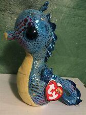 "Ty NEPTUNE -Blue/Yellow Glittery Seahorse 6"" Beanie Boo! *Retired* RARE & VHTF!"