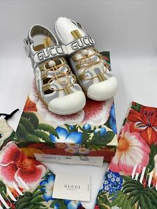 Men's Gucci White Leather And Mesh Slingback Sandals Size 13 Made In Italy