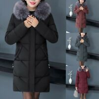 Women's Fur Collar Hooded Quilted Padded Puffer Parka Ladies Winter Jacket Coat