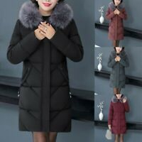 Women Fur Collar Hooded Quilted Padded Puffer Parka Ladies Winter Jacket Coat UK