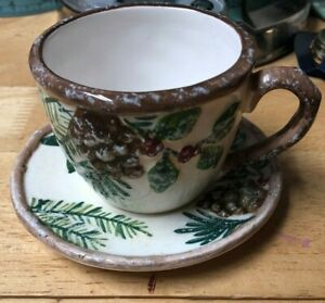 Yankee Candle Christmas Cup And Saucer 2012 Holly Ceramic Votive Tea Light