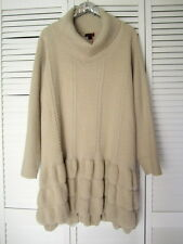 NWT Joe Browns Beige Chunky Cable Knit Turtleneck Ruffle Hem Sweater PLUS 28 30