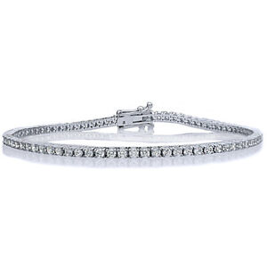 2mm 14K White Gold 2.4 ct Round Cubic Zirconia Prong Set Tennis Bracelet 7.25in