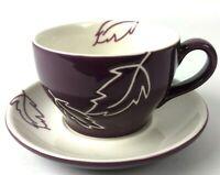 Starbucks Mug Purple Leaf Saucer Set 2007 Tea Cup