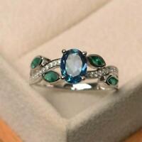 Mode Hochzeit Ringe Frauen Schmuck Aquamarin Größe 6-10 A8D9