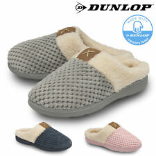 Dunlop Ladies Womens Slippers Slip On Comfy Cozy Mules Memory Foam Size 3-8