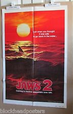 Jaws 2~1 Sheet~Red Teaser Advance~Original Movie Poster~1978~Horror