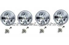"5-3/4"" Halogen Headlight Diamond Crystal Headlamp Clear 60/55W H4 Light Bulb Set"