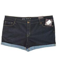 Ava Viv Blue Jean Shorts Plus Size 24 Denim Womens Stretch Mid Rise Dark Wash