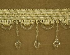 5 Yards Beaded FRINGE Trim for DRAPERY and UPHOLSTERY in (Off white / Cream)