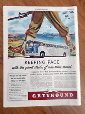 1942 Greyhound Bus Ad Keeping Pace with the Gaint Strides of War Time Travel