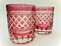 Pair Vintage Bohemian Czech Cut Crystal Whiskey Rocks Glass - Red Hatch Pattern