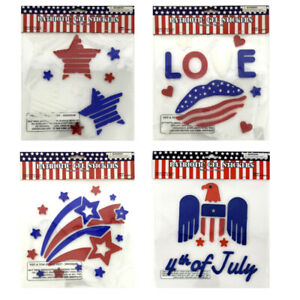 30+ Patriotic Flag USA Window Gel Sticker Cling Memorial Day Party Decoration