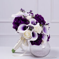 Silk Rose & Calla Lily Bridal Posy Bouquet,  Purple & Ivory Wedding Flowers