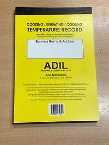 Cooking Reheating Cooling Temperature Record Food Hygiene Catering LOGBOOK HACCP
