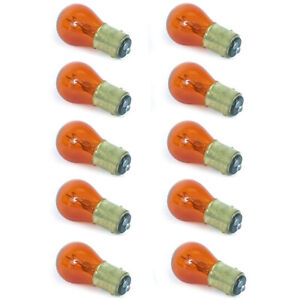 #1157 Amber Stock Tail Light Rear Brake Stop Turn Signal Lamps Bulb Box Of 10