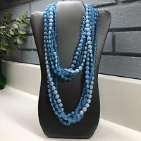 VTG Plastic Necklace Multi Strand LONG Beaded Blue Disc Coin Faceted Flower Bead