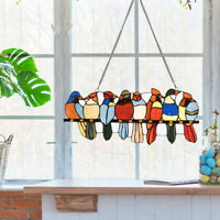 """22.5"""" Stained Glass Birds Window Panel Tiffany Style Indoor Sun Catcher w/Chain"""