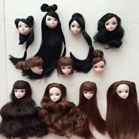 Kids Toy High Quality DIY  Doll Head with Black Brown Hair for 1/6 Barbie  Doll