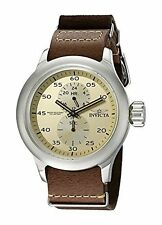 NEW Invicta 19498 Mens Russian Aviator GMT Beige Dial Brown Leather Silver Watch