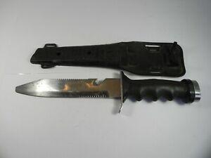 Vintage Dacor Diving Dive Knife tool Stainless Steel Sheath Blunt Tip Japan
