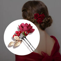 Simulation Pearl Red Flower Hairpin Hair Clip Bride Wedding Women Hair Accessory