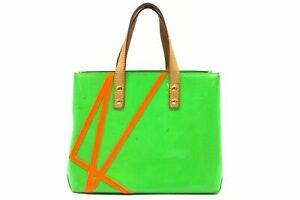 Louis Vuitton Vernis Fluo Read PM Hand Bag M91904 Monogram Patent Green 4737h