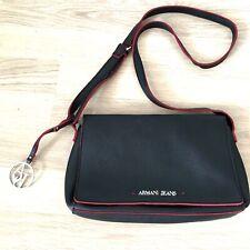 Sac à main bandoulière cuir Armani Jeans noir Ledertasche leather bag RN103723