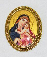 Spilla Antica Ritratto in Miniatura Vergine a il BAMBINO Mary Cristo