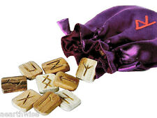 WOODEN RUNE SET WITH EMBROIDERED POUCH & INSTRUCTIONS Pagan Wicca Witch Goth