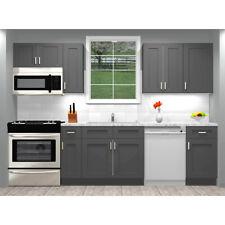 Lily Ann Cabinets RTA 10 Foot Run Birch Wood Kitchen Cabinets Grey Shaker Elite
