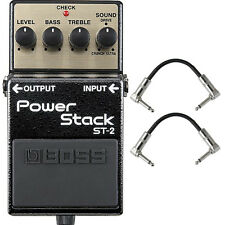 BOSS ST-2 Power Stack Overdrive/Distortion Guitar Effects Pedal + Patch Cables