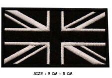 Embroidered Iron On Black UK Flag Patch Sew On Union Jack British Badge
