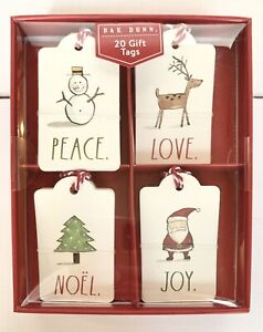 Rae Dunn 20ct Christmas Gift Tags-Style: PEACE-5 Each of 4 Designs.