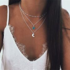 Boho Multilayer Choker Necklace Turquoise Moon Chain Silver Summer Women Jewelry