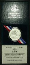 1991 Korean War Commemorative Silver Dollar. One Coin Gem BU Lot # 013