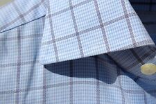Ermenegildo Zegna 15/33 Gentleman's Blue Check Dress Shirt - $375.00