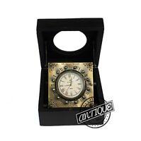 Steampunk Mini Bedside Home Clock Retro Desk Table Top Clocks Wooden Box Gift