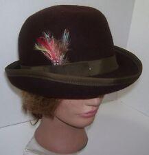 Women s Brown Derby Hat Betmar New York Medium Wool Hats Winter Feather New 660a43bda5f