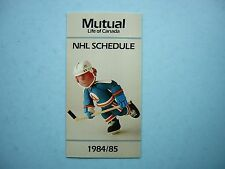 1984/85 MUTUAL LIFE OF CANADA NHL HOCKEY SCHEDULE