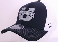 NEW Utah State University Aggies Black Embroidered Zephyr Stretch Cap Hat L