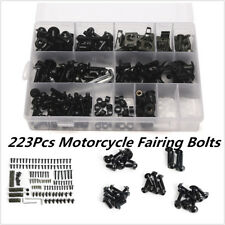 223x Black Motorcycle Sportbike Windscreen Fairing Bolt Kit Fastener Clips Screw