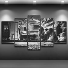 Mono Car repairing Worker 5 Pc Canvas Wall Art Print Picture Poster Home Decor