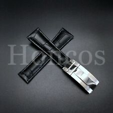 LEATHER BAND STRAP FOR ROLEX DAYTONA 16520 116518 BLACK REGULAR STEEL CLASP